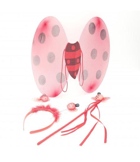 Kanatlı Oval Uğur Böceği Süsleme Kırmızı