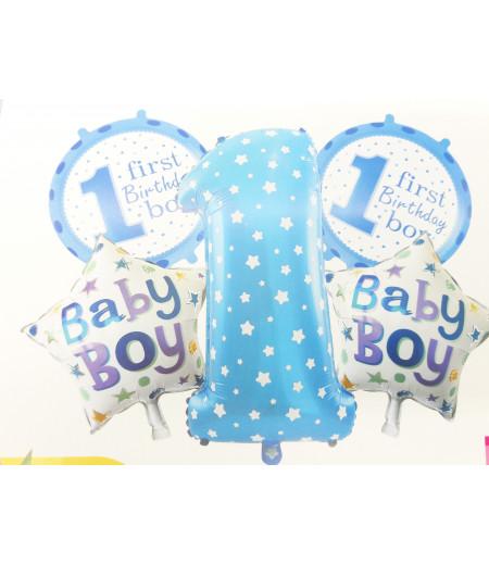 1 Yaş Baby Boy Desenli 5 Li Balon Seti Mavi