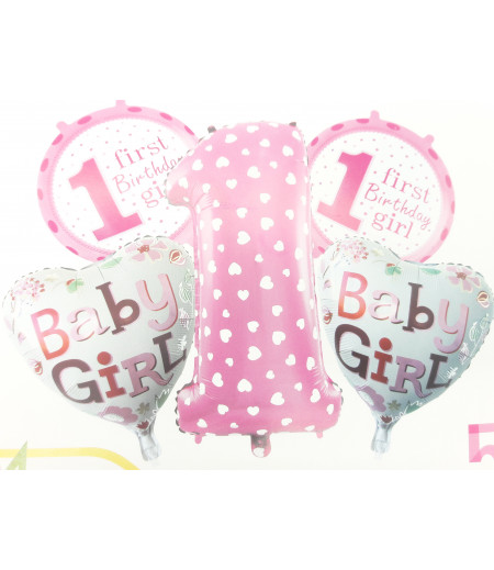 1 Yaş Baby Girl Desenli 5 Li Balon Seti Pembe