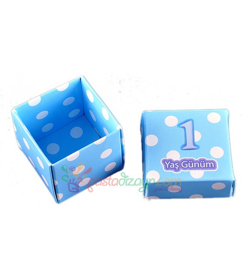 1 Yaş Mavi Renk Sunum Kutuları,10 Adet
