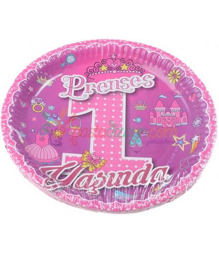 1 Yaş Prenses Kağıt Tabaklar,8 Adet