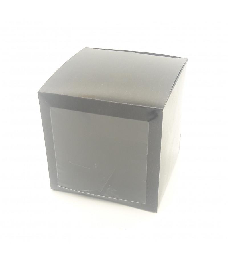 10x10x10 Cupcake ve Makaron Sunum Kutusu Siyah Renk