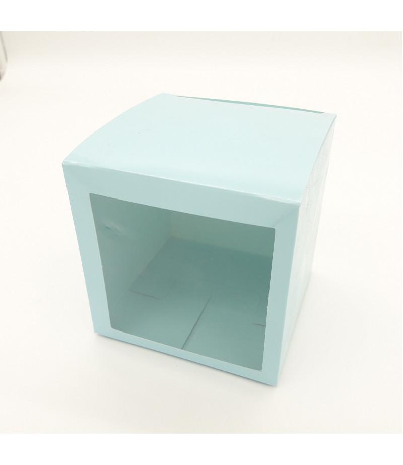 10x10x10 Cupcake ve Makaron Sunum Kutusu Açık Mavi Renk