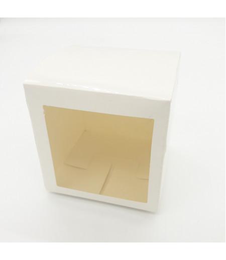 10x10x10 Cupcake ve Makaron Sunum Kutusu Beyaz Renk