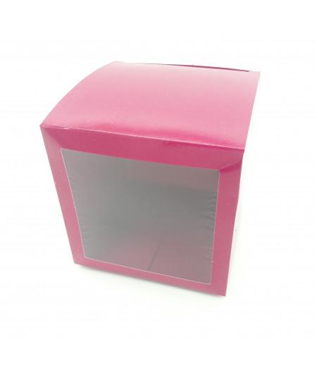 10x10x10 Cupcake ve Makaron Sunum Kutusu Bordo Renk
