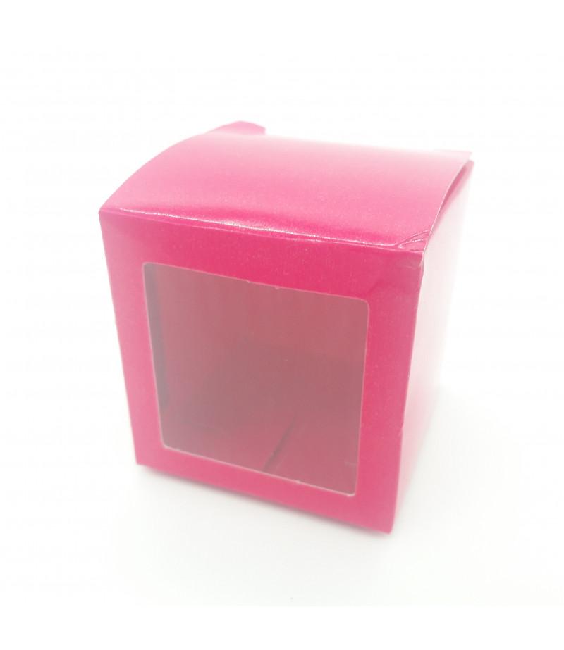 10x10x10 Cupcake ve Makaron Sunum Kutusu Fuşya Renk