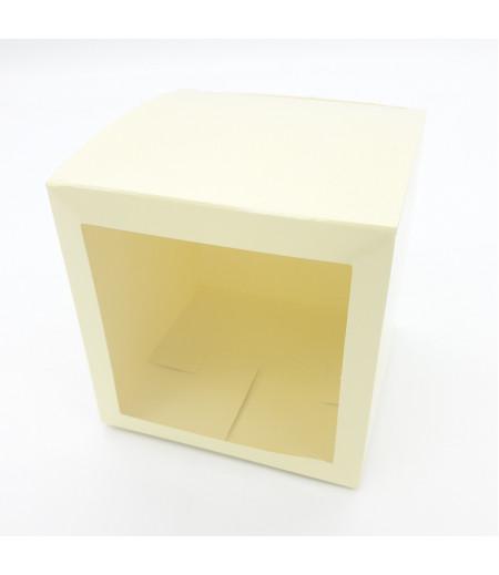 10x10x10 Cupcake ve Makaron Sunum Kutusu Krem Renk