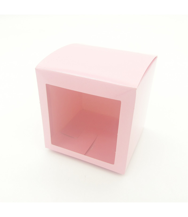 10x10x10 Cupcake ve Makaron Sunum Kutusu Pembe Renk