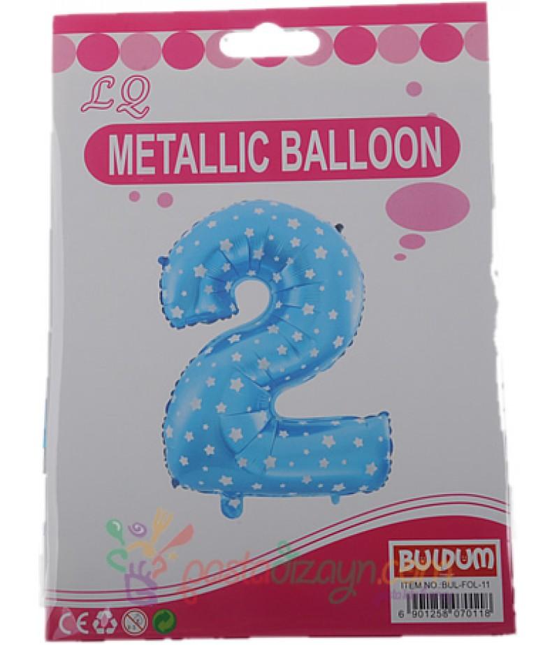 Mavi Renk 2 Yaş İçin Büyük Folyo Balon