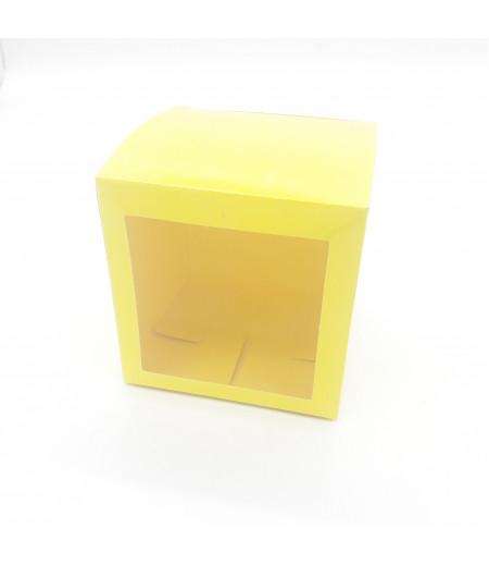 5x5x5 Cupcake ve Makaron Sunum Kutusu Sarı Renk