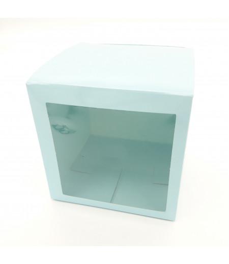 5x5x5 Cupcake ve Makaron Sunum Kutusu Açık Mavi Renk