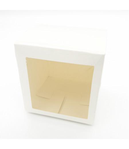 5x5x5 Cupcake ve Makaron Sunum Kutusu Beyaz Renk