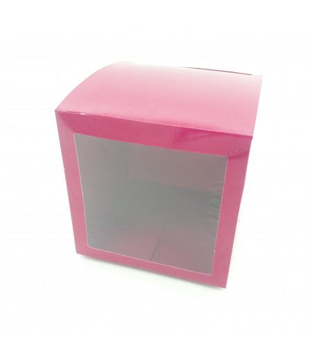 5x5x5 Cupcake ve Makaron Sunum Kutusu Bordo Renk