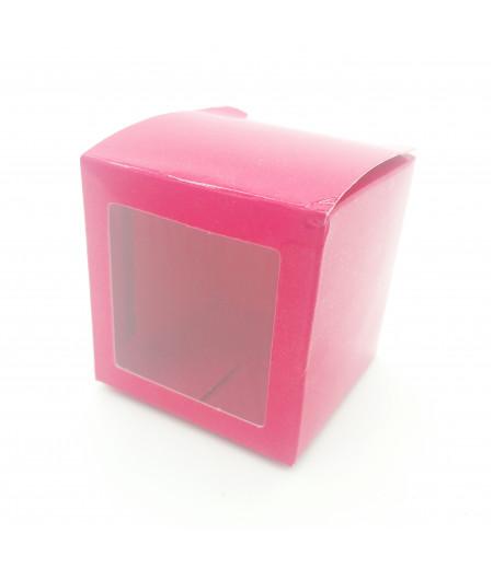 5x5x5 Cupcake ve Makaron Sunum Kutusu Fuşya Renk