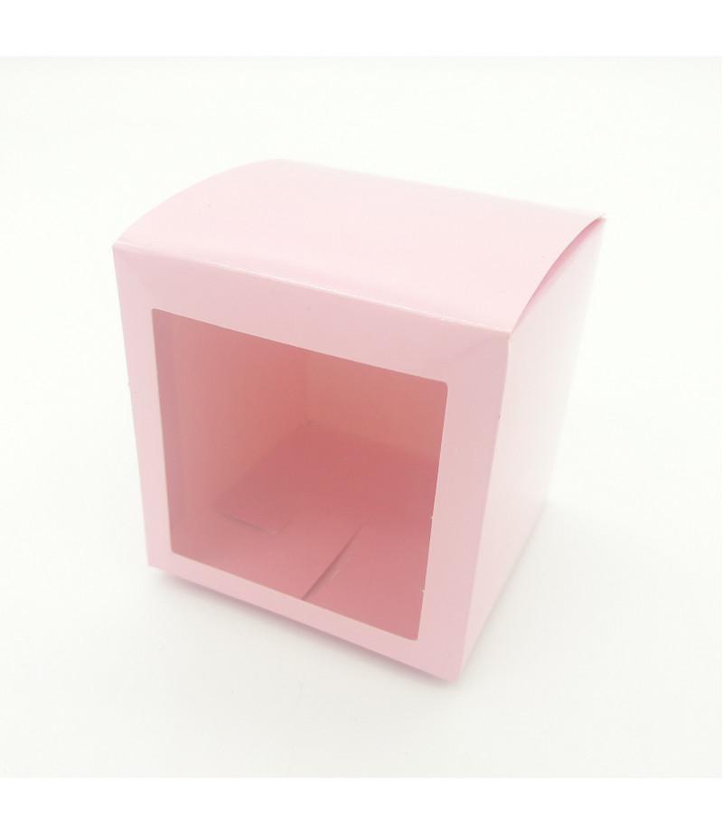 5x5x5 Cupcake ve Makaron Sunum Kutusu Pembe Renk