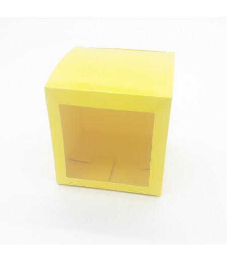 6x6x6 Cupcake ve Makaron Sunum Kutusu Sarı Renk