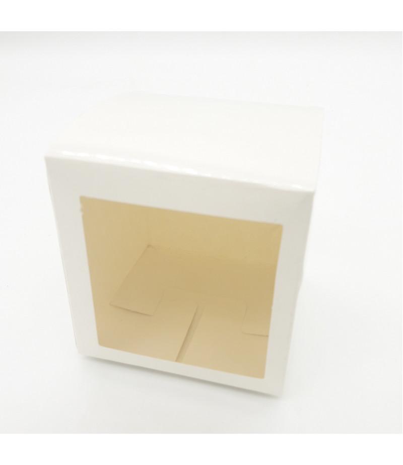6x6x6 Cupcake ve Makaron Sunum Kutusu Beyaz Renk