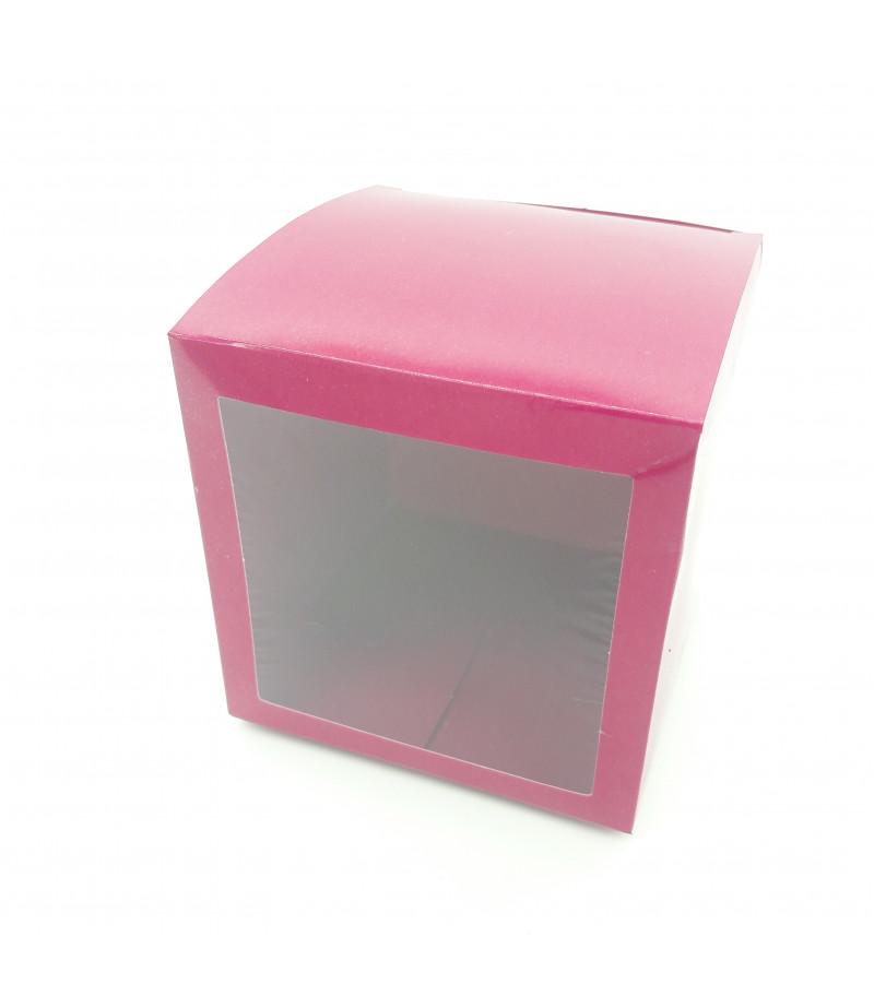 6x6x6 Cupcake ve Makaron Sunum Kutusu Bordo Renk