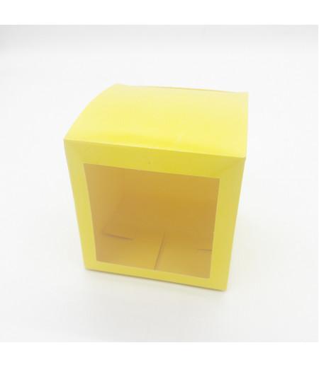 7x7x7 Cupcake ve Makaron Sunum Kutusu Sarı Renk