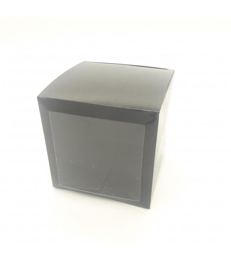 7x7x7 Cupcake ve Makaron Sunum Kutusu Siyah Renk