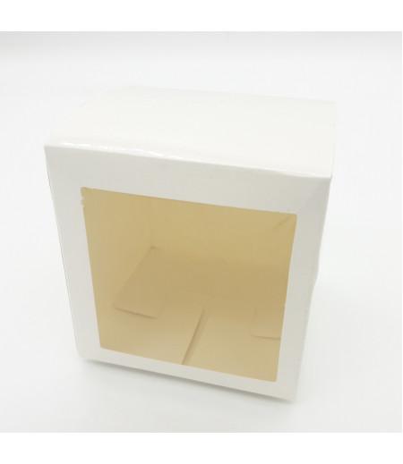 7x7x7 Cupcake ve Makaron Sunum Kutusu Beyaz Renk