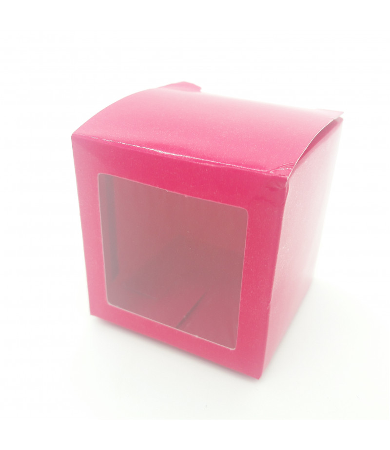 7x7x7 Cupcake ve Makaron Sunum Kutusu Fuşya Renk