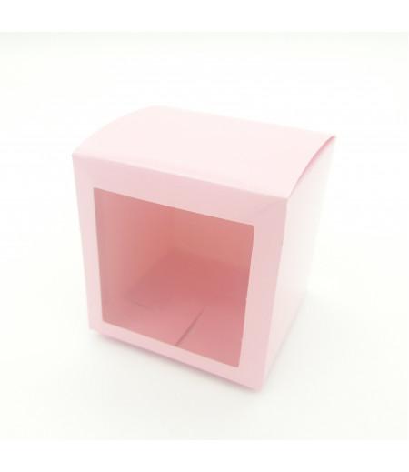 7x7x7 Cupcake ve Makaron Sunum Kutusu Pembe Renk