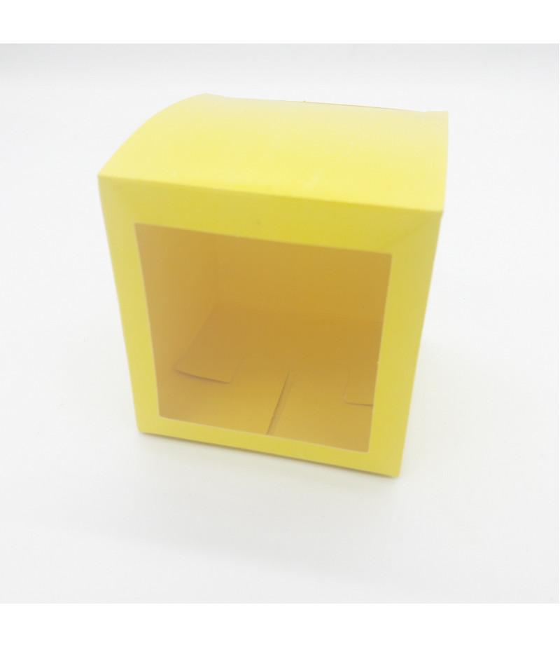 8x8x8 Cupcake ve Makaron Sunum Kutusu Sarı Renk
