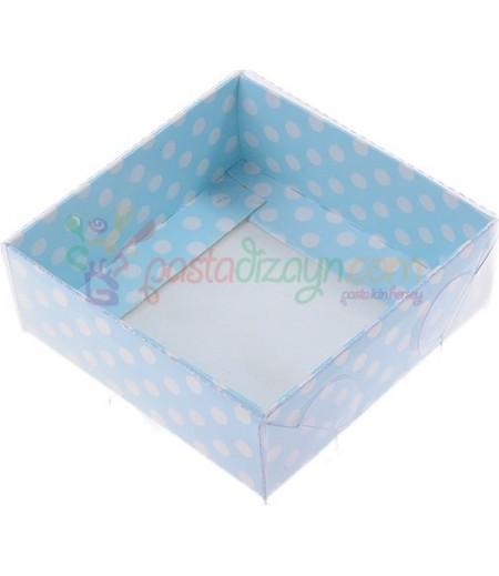 Mavi Puantiyeli Asetat Kutular,8x8x3cm,5 Adet