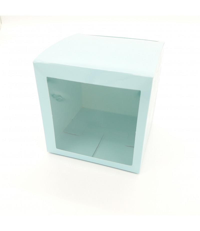 8x8x8 Cupcake ve Makaron Sunum Kutusu Açık Mavi Renk