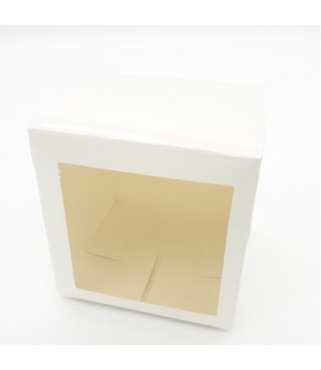 8x8x8 Cupcake ve Makaron Sunum Kutusu Beyaz Renk