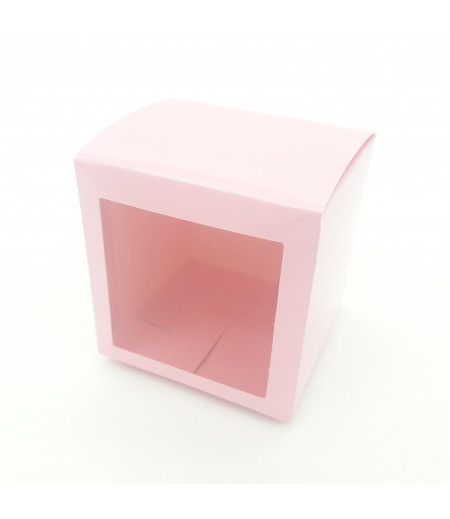 8x8x8 Cupcake ve Makaron Sunum Kutusu Pembe Renk