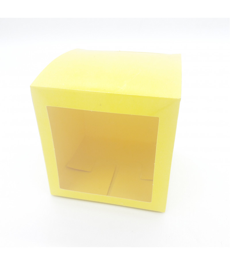 9x9x9 Cupcake ve Makaron Sunum Kutusu Sarı Renk