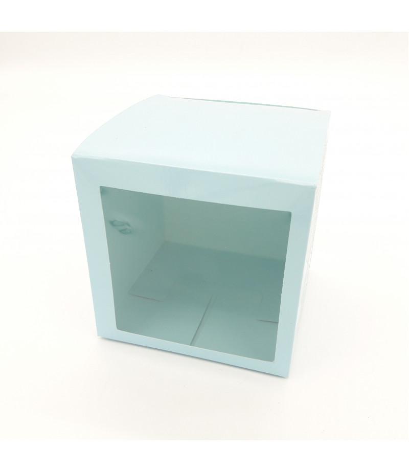 9x9x9 Cupcake ve Makaron Sunum Kutusu Açık Mavi Renk