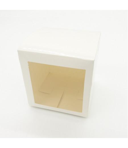 9x9x9 Cupcake ve Makaron Sunum Kutusu Beyaz Renk