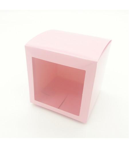 9x9x9 Cupcake ve Makaron Sunum Kutusu Pembe Renk