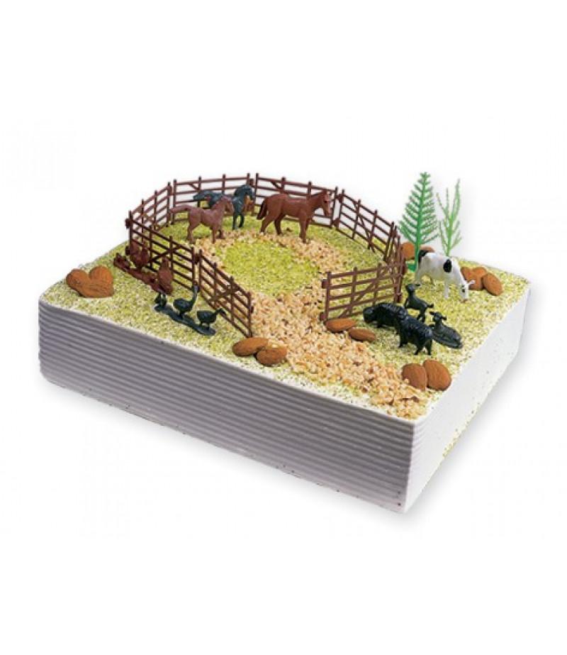 Çiftlik Hayvanları Pasta Süsü (1 Çit,2 Ağaç,7 Değişik Hayvan)