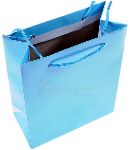 Açık Mavi Karton Çanta,14x17cm