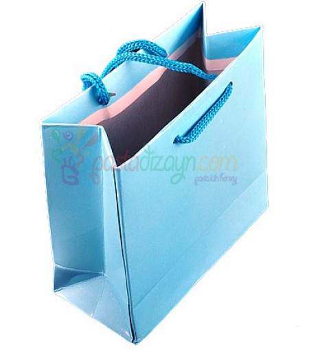 Açık Mavi Karton Çanta,8 Adet