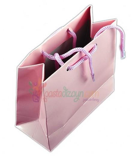 Açık Pembe Karton Çanta,8 Adet