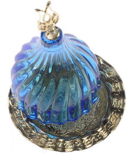Altın Prinç Mavi Renk Kubbeli Akrilik Lokumluk