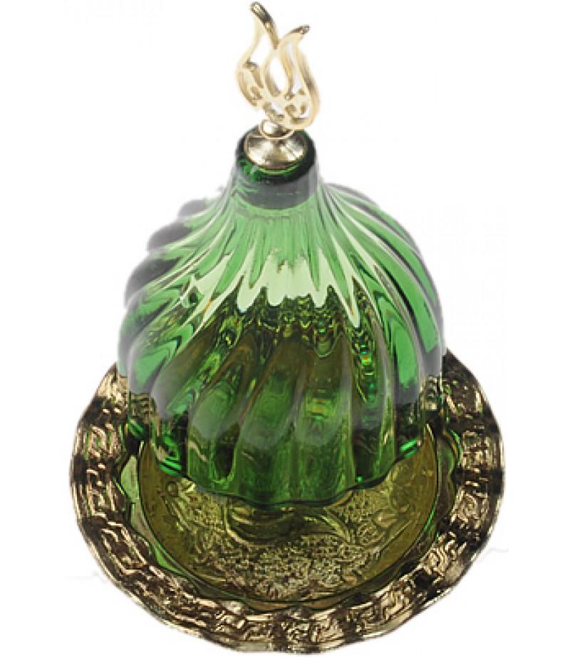 Altın Prinç Yeşil Renk Kubbeli Akrilik Lokumluk