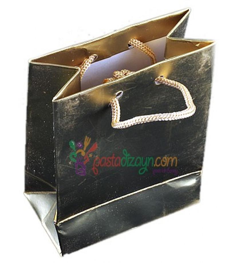 Altın Rengi Karton Çanta,8 Adet