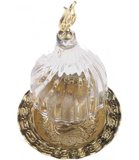 Altın Prinç Şeffaf Renk Kubbeli Akrilik Lokumluk