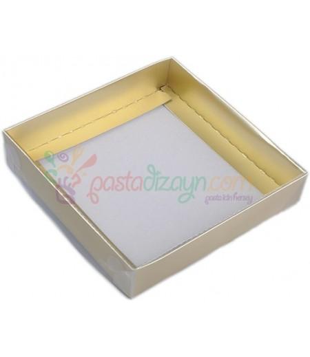 Altın Rengi Asetat Kutular,9x9x3cm,5 Adet