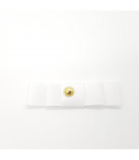 Altın Renk Düğme Desenli Grogren Kurdela Süsleme Beyaz