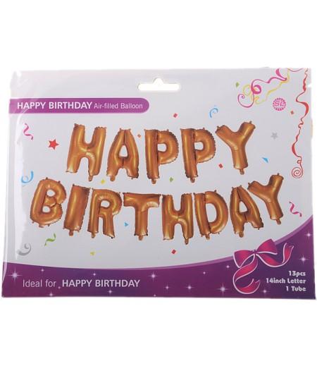 Altın Renkli Happy Birthday Yazılı Folyo Balonlar