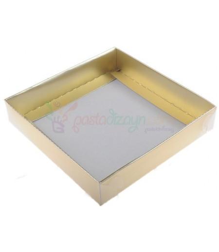Altın Rengi Asetat Kutular,15x15x3cm,5 Adet