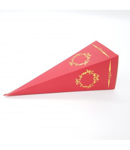 Altın Yaldızlı Süsleme Külah Şekerlik Bayrak Kırmızısı