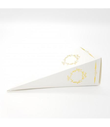 Altın Yaldızlı Süsleme Külah Şekerlik Beyaz